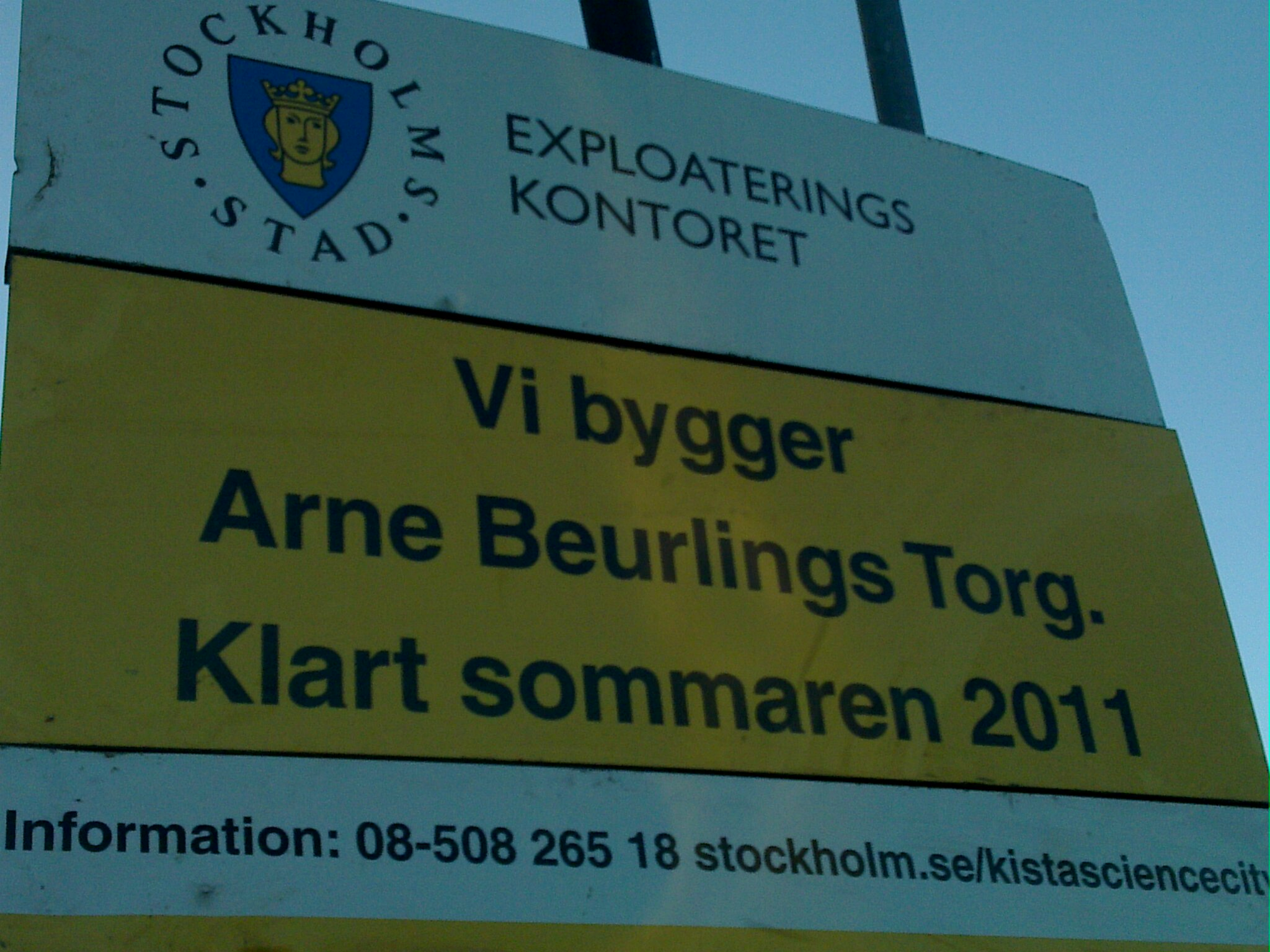 Plate describing the construction area of the Arne Beurling plaza